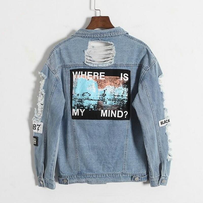Drop shipping Where is my mind Korea retro deshilachado bordado parche letra bombardero chaqueta azul rasgado desgastado abrigo vaquero de mujer
