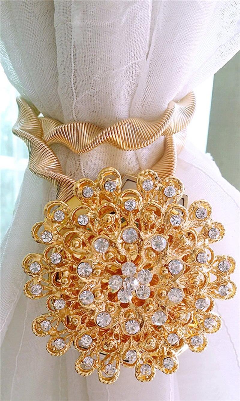 2 x creativas flores doradas plateadas cortina elástica hebilla de sujeción imán de resorte atado bola joyería