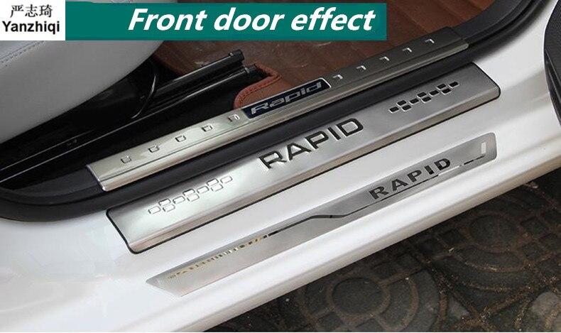 Cinta de alféizar para puerta de 4 unids/lote de acero inoxidable embellecedor de pedal de cortesía para Skoda 2014-2017 Rapid/Rapid Spaceback