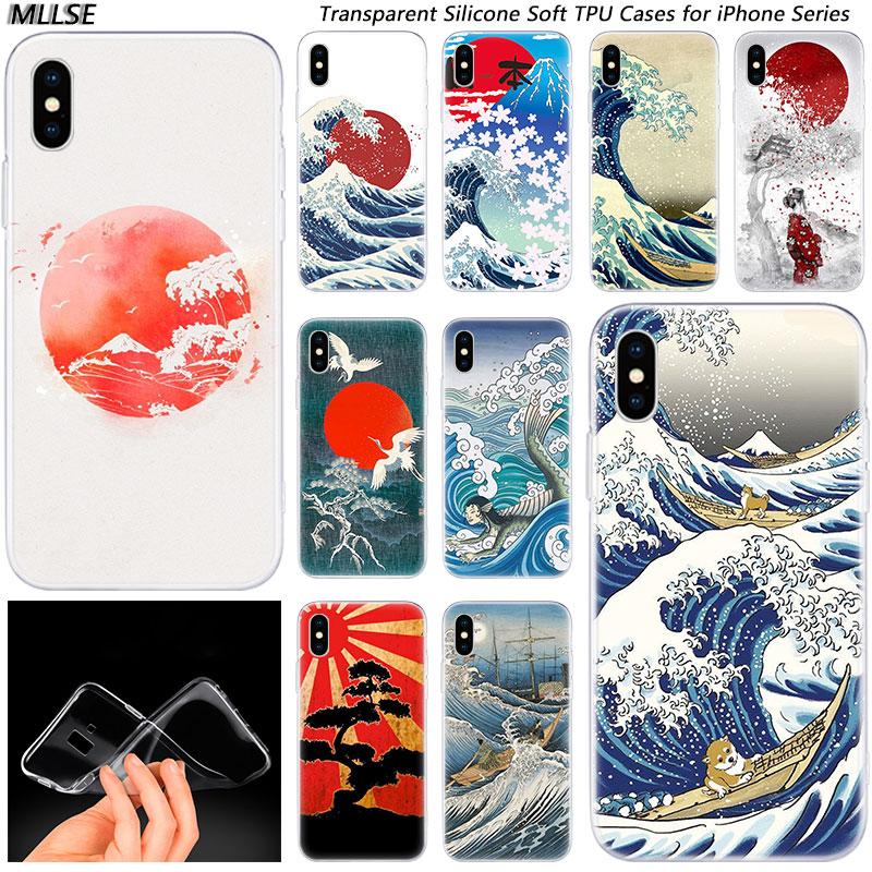 ¡Oferta! Funda de silicona arte de ola Spray a la moda para Apple iPhones 11 Pro XS Max X XR 7 8 6 6s Plus 5S SE funda de teléfono de TPU blanda