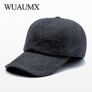 Wuaumx Luxury Brand Autumn Winter Earflaps Cap Men Warm Ear Flaps Baseball Caps For Male Earmuff protection Dad Hats Casquette