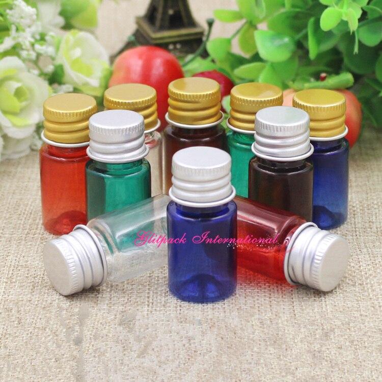 100 pçs/lote azul/verde/vermelho/âmbar 5ml garrafas PET com Ouro/Prata De Alumínio Tampas de frascos de plástico por atacado, pequenos recipientes de plástico