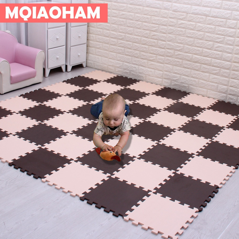 MQIAOHAM 18 pièces EVA mousse bébé tapis de jeu Puzzles tapis tapis rampant Yoga exercice tapis 29x29x0.8 cm-unisexe maison carrelage