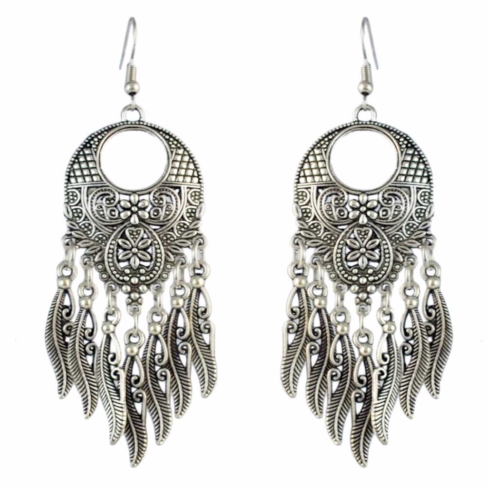 Pendientes de Metal Retro turco Jhumka para mujer, novia, boda, flor tallada, gota larga, Tribal, India, pendientes, joyería