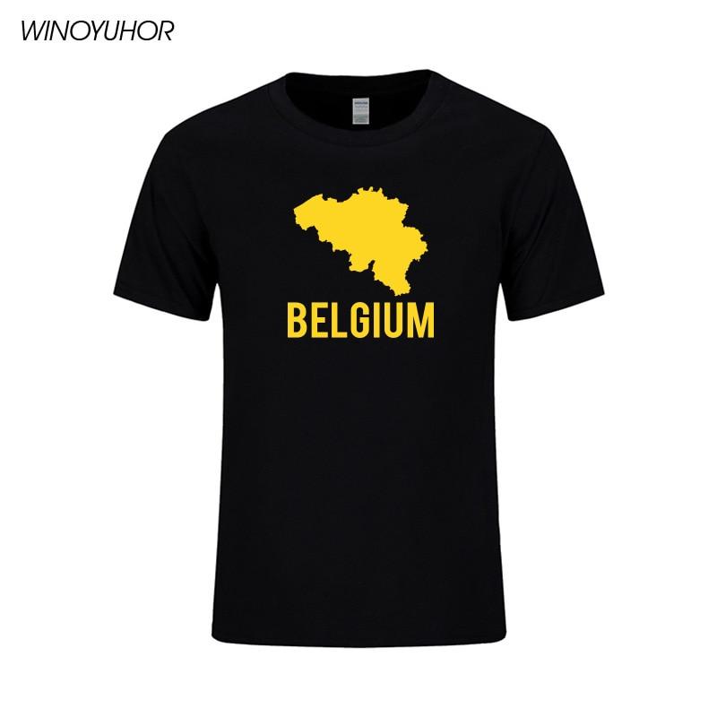 Camiseta con estampado de mapa de Bélgica, camisetas de algodón de manga corta a la moda de verano para hombre, Camiseta de cuello redondo de Hip Hop, ropa de calle para hombre