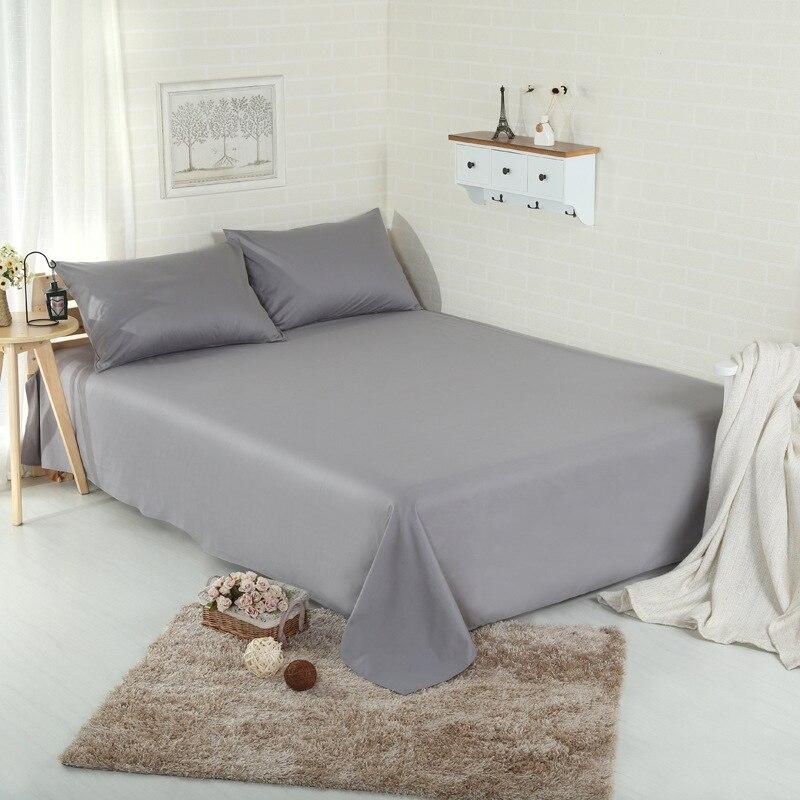 ملاءة سرير مسطحة من القطن الخالص 100% ، مفرش سرير مطبوع ، لون سادة ، بياضات سرير مزدوجة بحجم كوين وكينغ