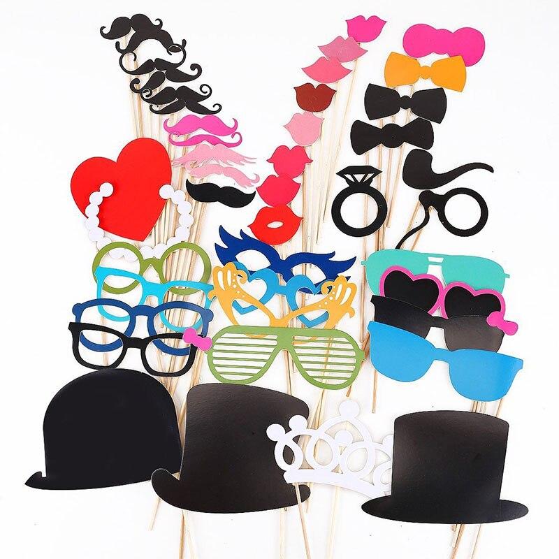 Moda 44 PCs Hot Engraçado Grandes Chapéus Bigode Photobooth Adereços Fontes Do Casamento Decoração Do Partido de Aniversário Brinquedos