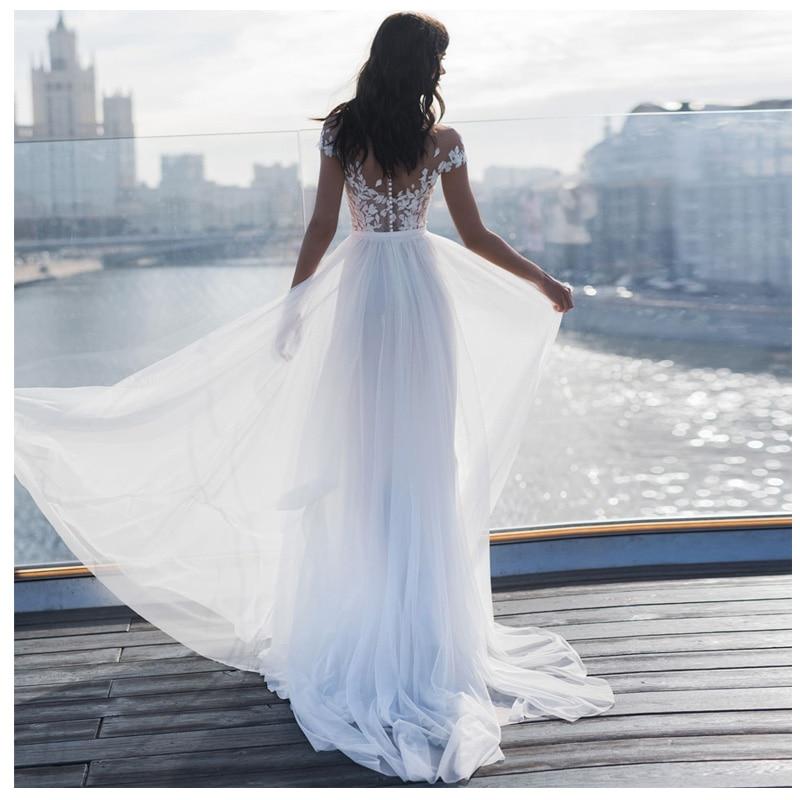 Купить с кэшбэком LORIE Sexy Boho Wedding Dress  A-Line Appliques Tulle Bride Dress Custom Made High Split  Wedding Gown Free Shipping 2019