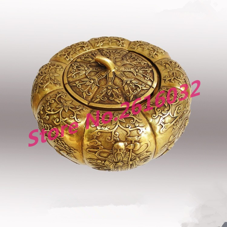 Adornos Fu Yun Feng Shui de bronce claro de cobre puro, adornos de calabaza, tanque de almacenamiento, decoración de cornucopia