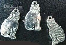 750pcs Tibetan silver cute sitting cat pendant A110