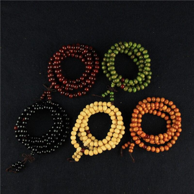 5 cores 108 grânulos 8mm sândalo budista jóias buda madeira oração grânulo mala unissex masculino pulseiras & pulseiras bijoux