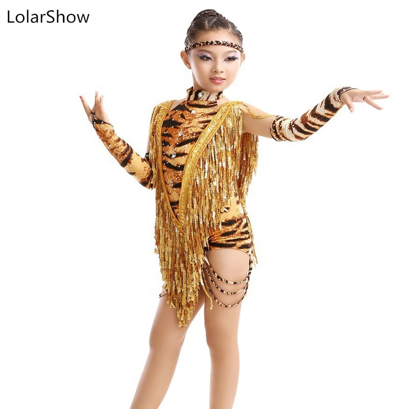 Niños Niñas leopardo falda de baile latino niños flecos baile salón vestidos de competición Tango Salsa falda de rumba