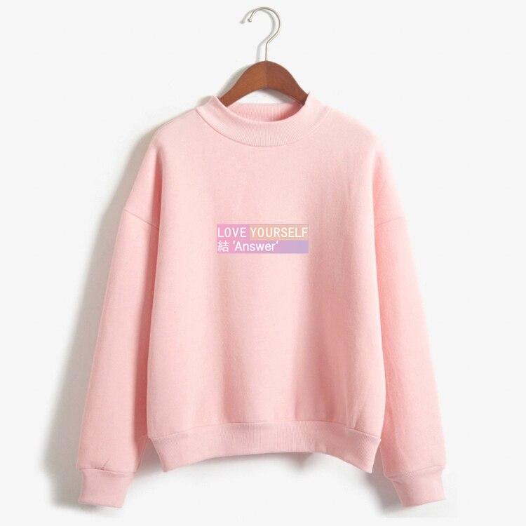 Kpop novo kpop amor a si mesmo fãs resposta roupas coreano letras casuais impresso velo harajuku pulôver outono inverno casaco topos