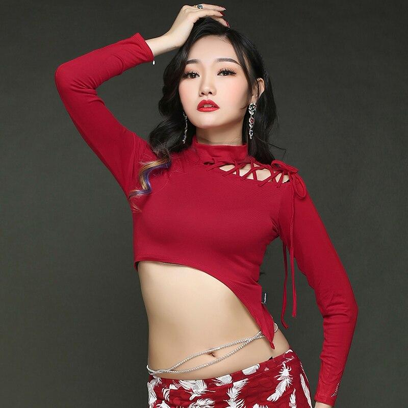 Adult Sexy Knit Long Skirt Belly Dance Tops Shirt Costumes For Women Bellydance Indian Dancing Clothes Dancer Top