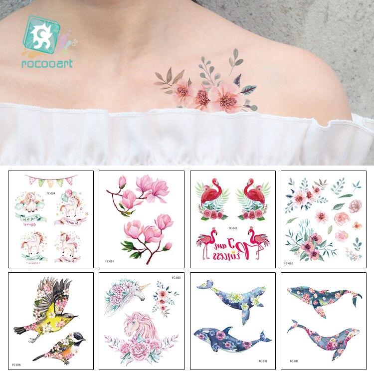 FC Beauty Sea Series Water Transfer Tattoo With Seaworld Magnolia Unicorn Butterfly Body Temporary Fake tatoo Sticker For Women