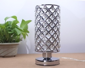 Modern K9 Crystal Table Lamps for Home Bedside Bedroom Silver LED Night Lights With Free E27 LED Bulb