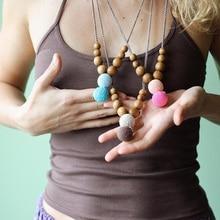 Modern Mama Nursing Necklace Wood Beads Teething Mommy Necklaces Breastfeeding Babywearing Jewelry