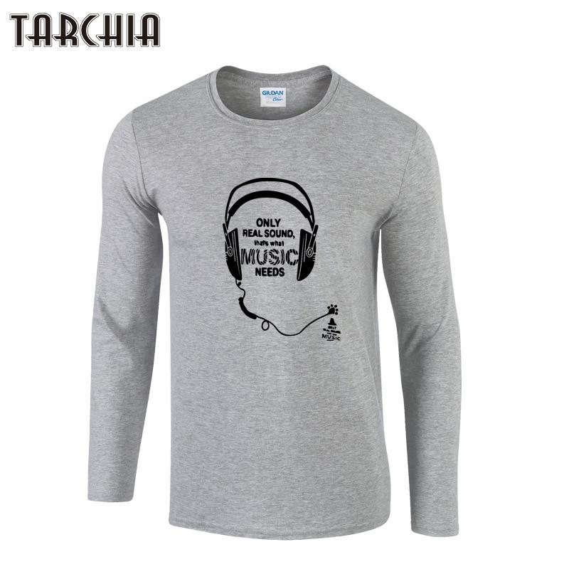 TARCHIA Hot 2019 nuevo micrófono de primavera estampado cuello redondo ajustado de manga larga Camiseta hombres tendencia Casual hombres camiseta coreana T camisas
