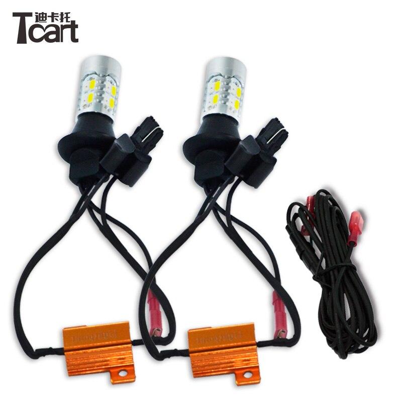 Tcart 2pcs Auto LED bulbs Car DRL Daytime Running Light Turn Signals Car White+Amber Lamps 7443 For Nissan Sentra 2014 Teana J32