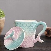 Belle sirène colorée créative avec couvercle tasse en céramique maison bureau lait café thé matin tasses porcelaine cadeau danniversaire