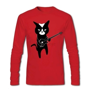 Black Metal Cats Shirts Men's Spring Trendy Apparel Musical Cats Tops Awesome DIY Tee Shirt Party Blouses 100% Cotton O Neck