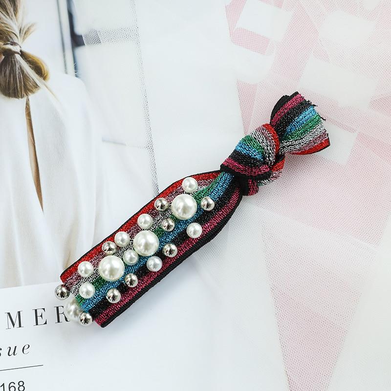 Ruoshui Rainbow Hair Ties Woman Korean Pearl Scrunchies Girl Ponytail Holder Rubber Band Hair Gum Rope Lady Hair Accessories