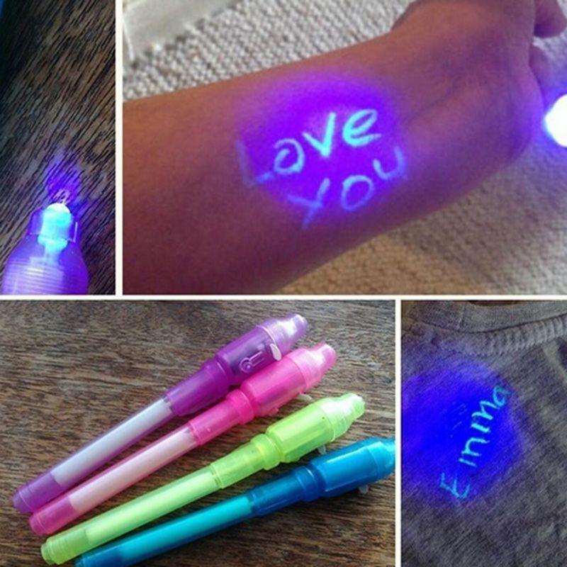 Креативный магический УФ-светильник, ручка, невидимая чернильная ручка, светится в темноте, ручка со встроенным УФ-светильник в комплекте с ...