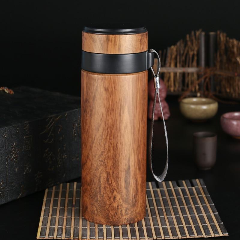 350ml taza de aislamiento de pintura de grano de madera portátil para hombres Oficina arcilla púrpura termo salud Zisha frascos de vacío botella envío gratis