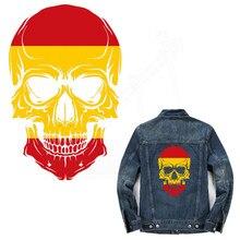 스페인 깃발 두개골 26*17 cm t-셔츠 드레스 스웨터 열 전송 인쇄 의류에 대 한 a-레벨 빨 스티커 패치