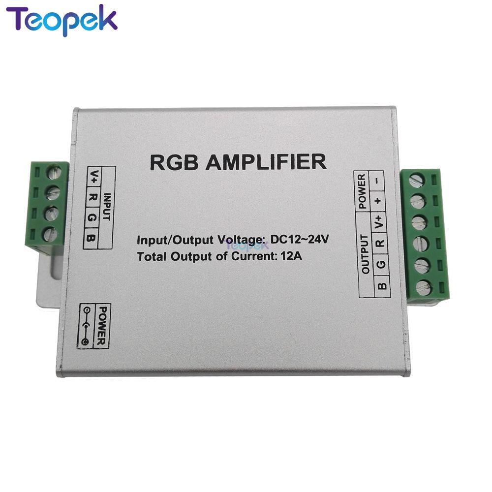 DC12-24V 12A RGB amplificador repetidor caja de aluminio controlador para 3528 SMD 5050 LED tira de luz consola controlador