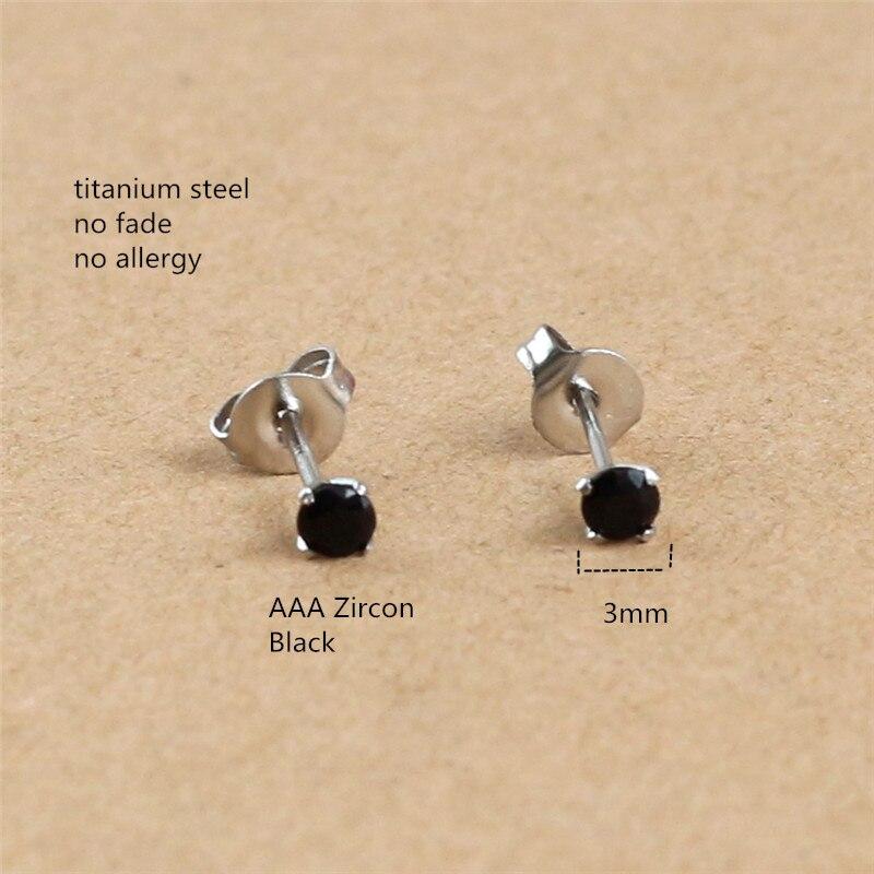 Круглые серьги-гвоздики из титана с черным цирконием 3 мм, нержавеющая сталь 316L, IP посадка, не выцветает, не вызывает аллергии