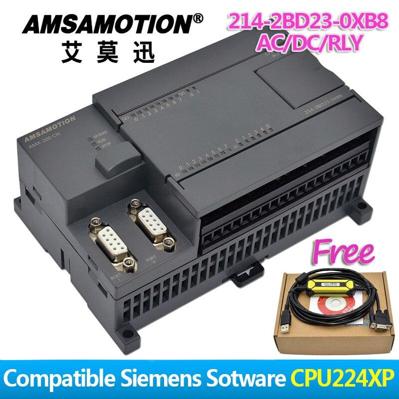 ترقية!!! Amsamotion PLC S7-200CN CPU224XP 14I/10O 2AI 1AO التيار المتناوب/تيار مستمر/RLY 6ES7 214-2BD23-0XB8 مع كابل بي آي الحرة