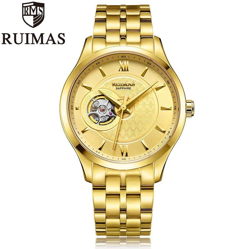 Ruimas-ساعة رجالية ذهبية ، ميكانيكية ، أوتوماتيكية ، عتيقة ، بسوار من الفولاذ المقاوم للصدأ ، ذكر