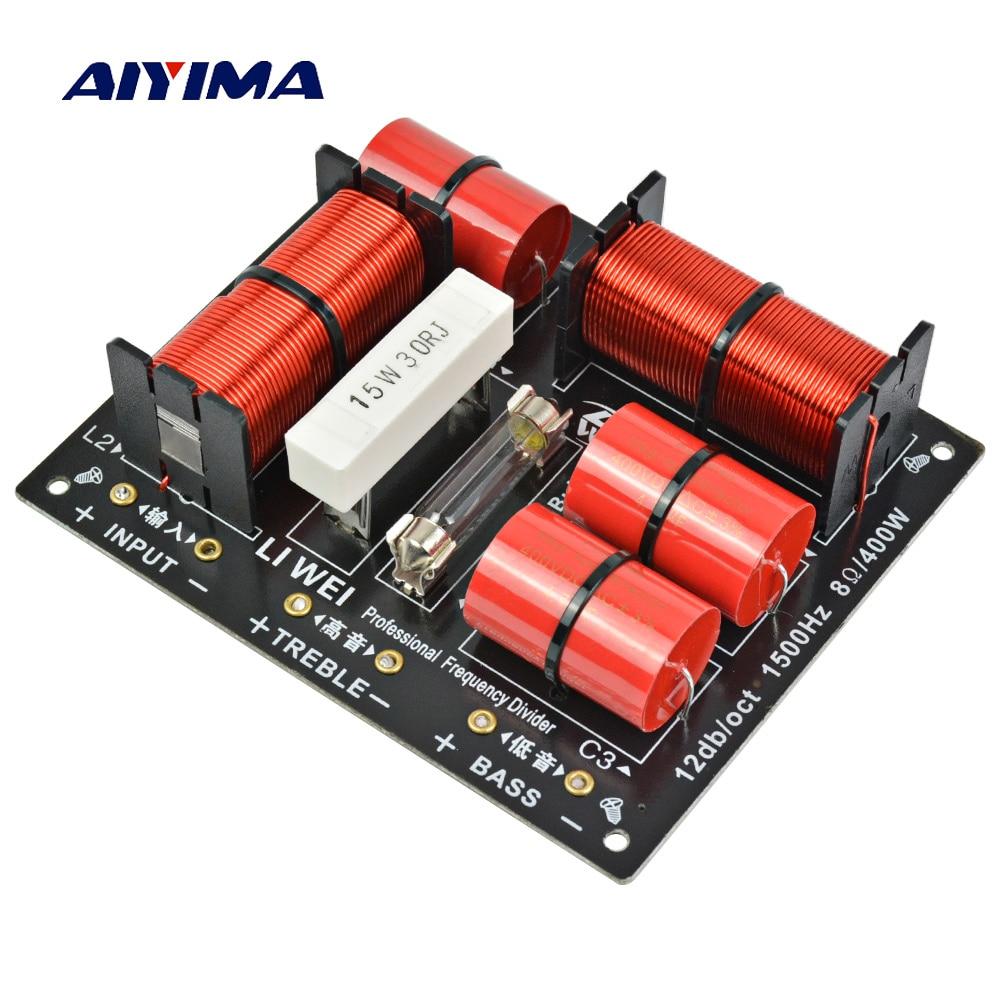 Aiyima 400W 1 قطعة مقسم 2 طريقة المتكلم الصوت تردد مقسم 400W المهنية التريبل باس كروس مرشحات ل مكبر للصوت DIY