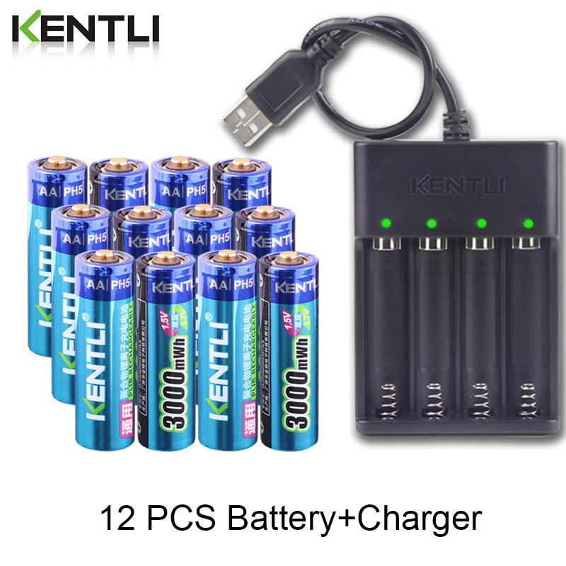 12 Uds nuevo KENTLI 1,5 v 3000mWh AA recargable li-polímero li-ion batería de polímero de litio + 4 ranuras cargador inteligente USB