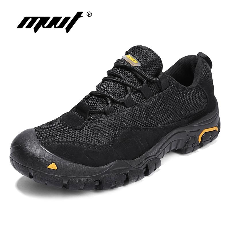Sapatos de couro genuíno de qualidade sapatos masculinos casuais 2018 outono sapatos masculinos rendas até sapatos de caminhada anti-derrapagem de malha