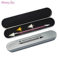 well protected metal case packed dual ended wax nail rhinestone beads studs sequins picker dotting pen pencil pink clear handle
