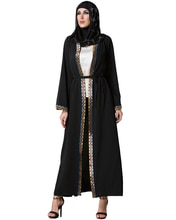 Vintage Muslim Robe Women Arabia Middle East Long Muslim Trench Plus Size Retro Spliced Long Sleeve Maxi Robe Black 7XL
