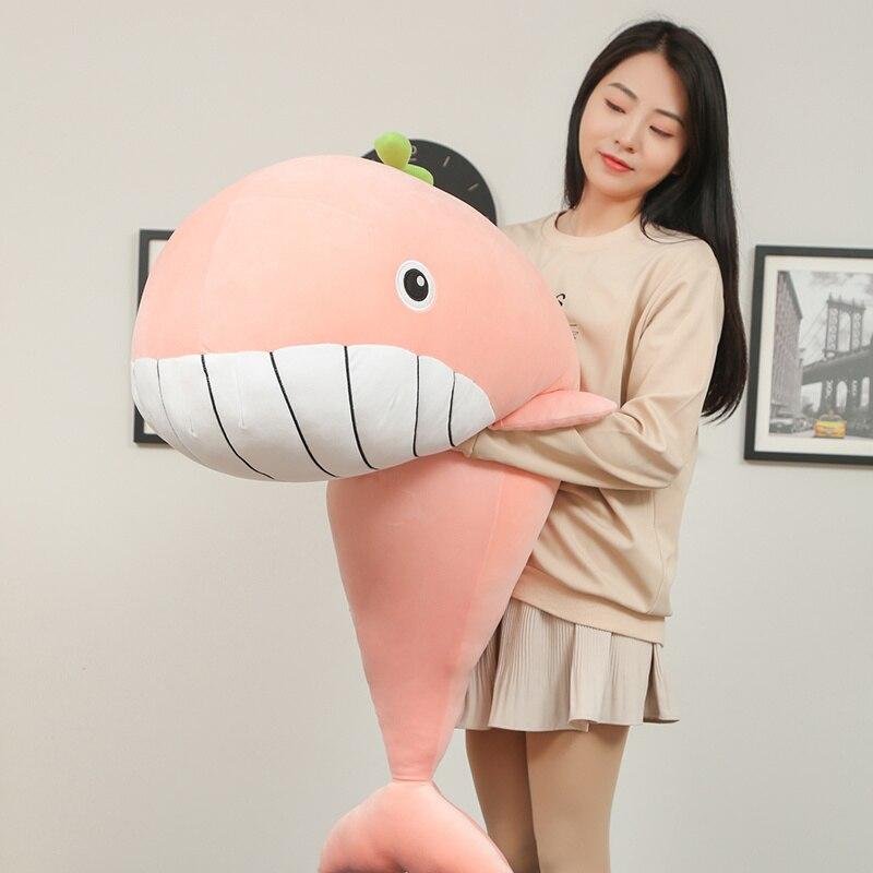 65 cm-120 cm nuevo estilo de juguete juguetes de peluche de ballena muy suave cojín de almohada de pez de alta calidad juguetes para niños para los niños regalos de cumpleaños