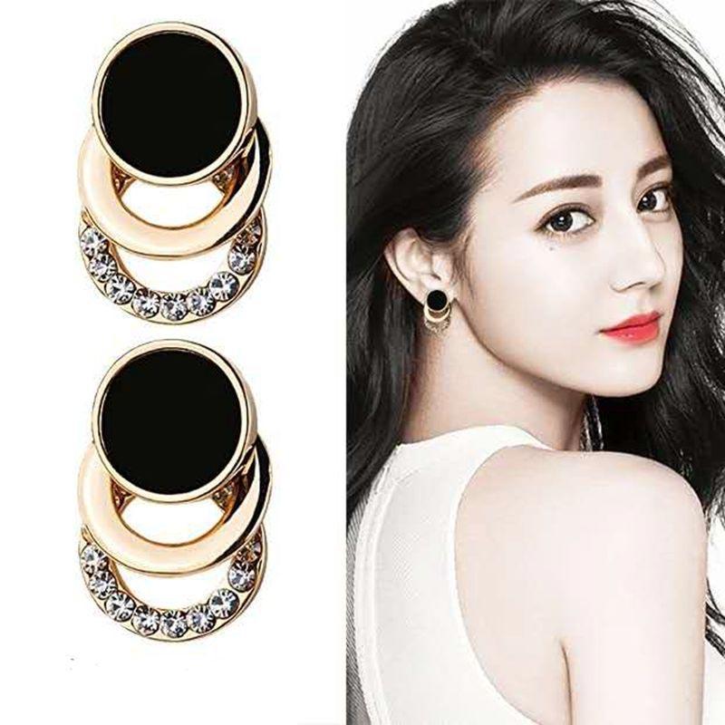 2019 pendientes botón Corea moda negro dorado Metal redondo 3 capas pendientes de cristal para mujer Rhinestone joyería nupcial EB113