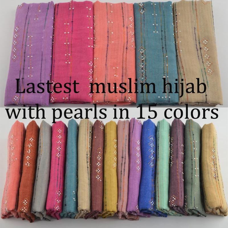 Hijab muçulmano Novo 2019, hijab simples com pérolas e pregos, lenço com lurex, xales e cachecóis, cachecol paillette com rosca