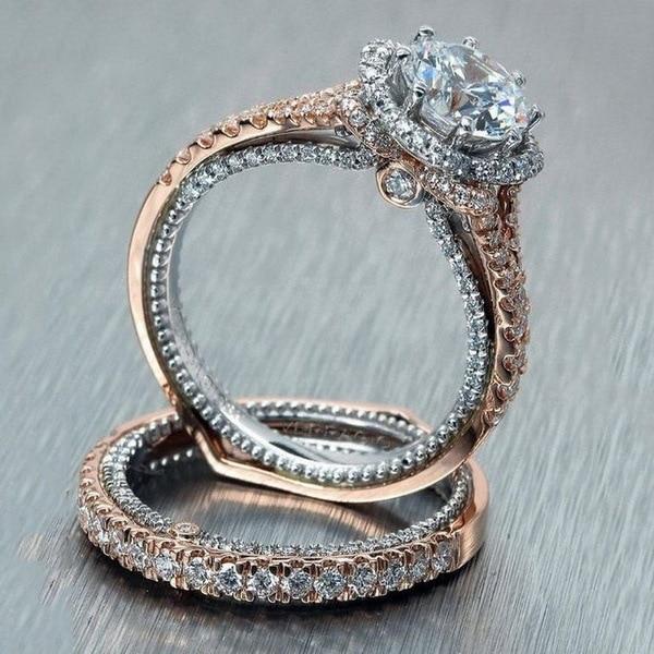 Delicado cz rosa ouro anéis de casamento conjunto para a mulher 2 pçs elegante zircônia cúbica festa dedo jóias presente da menina