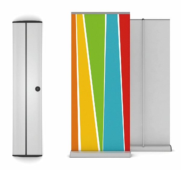 Aluminium Roll Up Banner Display Retractable Stand 85x200cm With Cap Wide 24cm For Trade Show Exhibition 6pcs High Quality