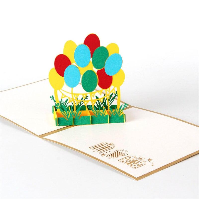 3D Laser Cut Handmade Kids Children Happy Birthday Party Balloon Paper Invitation Greeting Cards PostCard Business Creative Gift