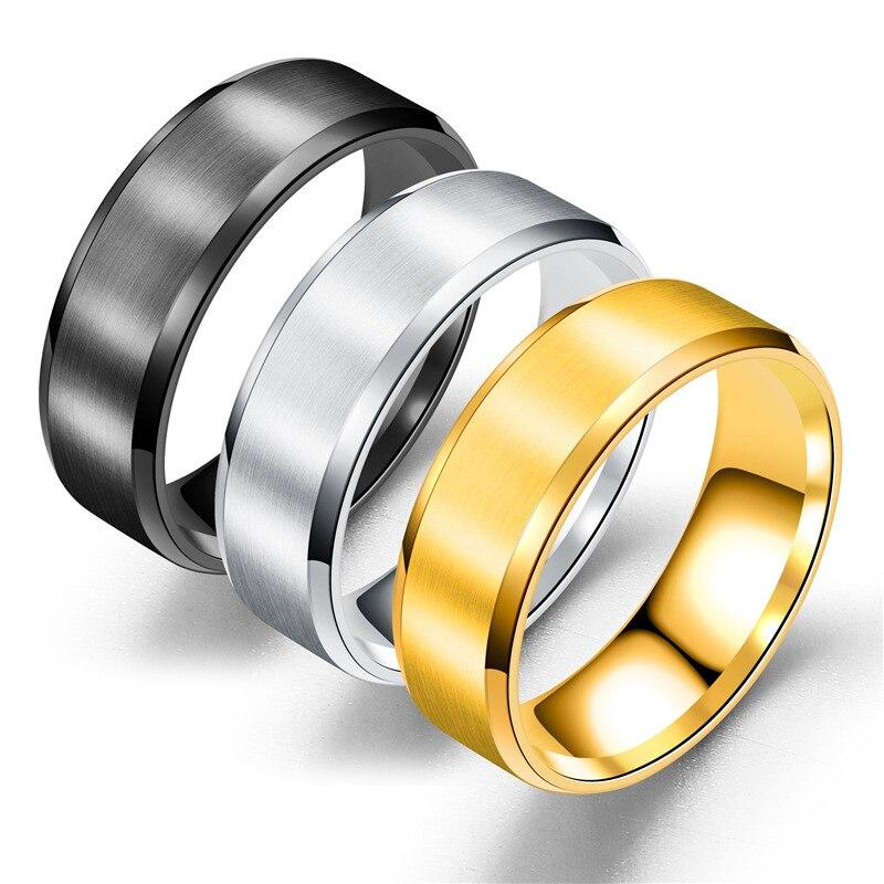 Anillo de acero de titanio de 8mm, anillos en blanco y negro de estilo sencillo con plata y oro para hombre y mujer