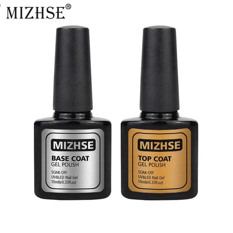 MIZHSE 10ML 2pcs/lot Top Coat Base Coat Foundation for UV Nail Gel Polish Top Coat Without Sticky Layer Enamel Unhas De Gel