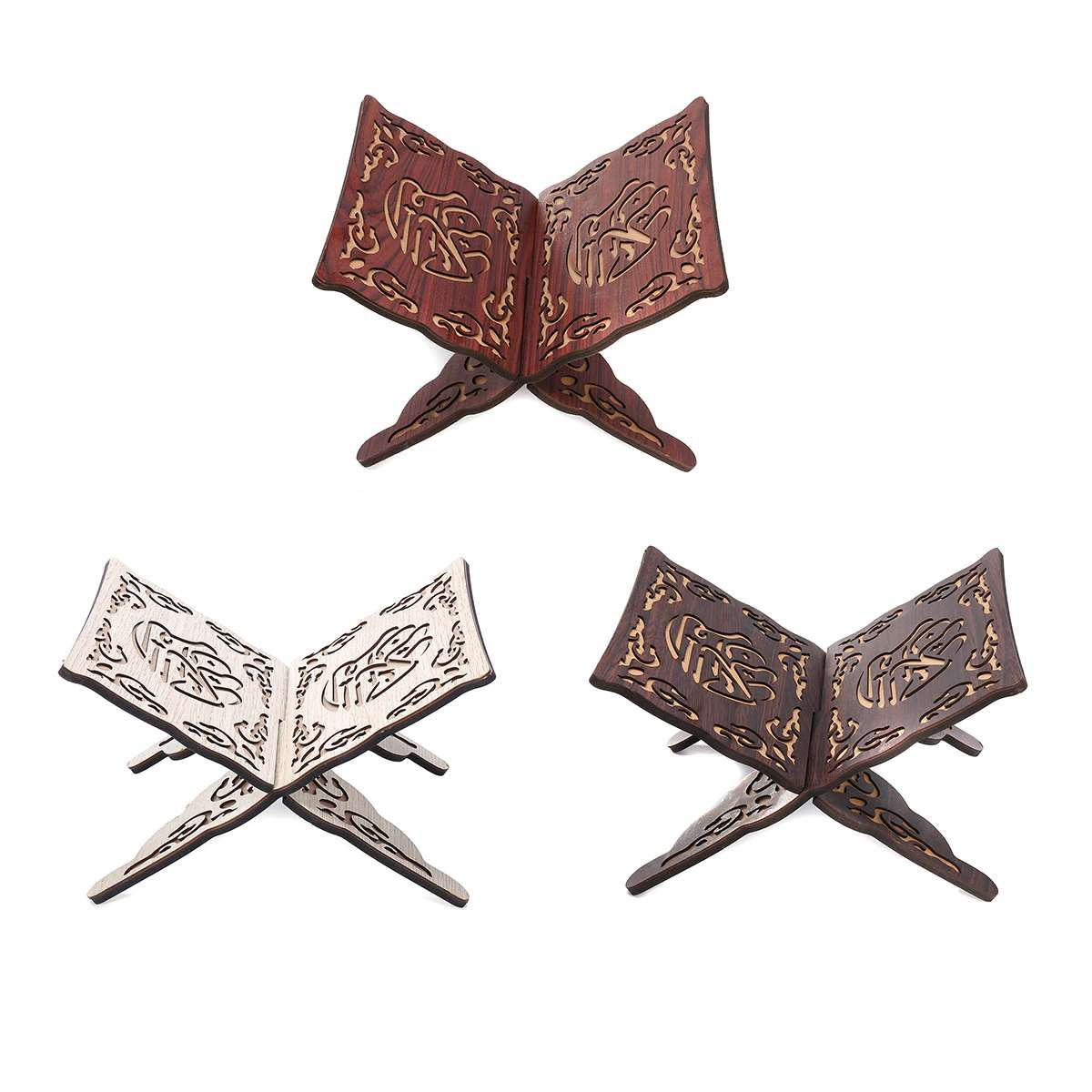 3 colors Quran Muslim Wooden Book Stand Holder Decorative Shelf Removable Ramadan Allah Islamic Gift Handmade Wood Book Decor