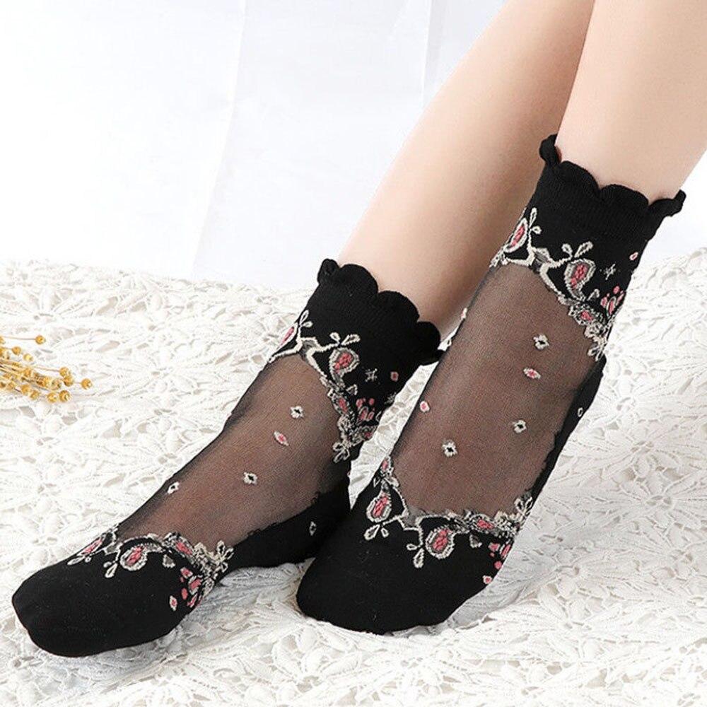 1 пара, модные женские ультратонкие кружевные прозрачные эластичные короткие носки в стиле барокко, эластичные носки из прозрачного стекла и шелка