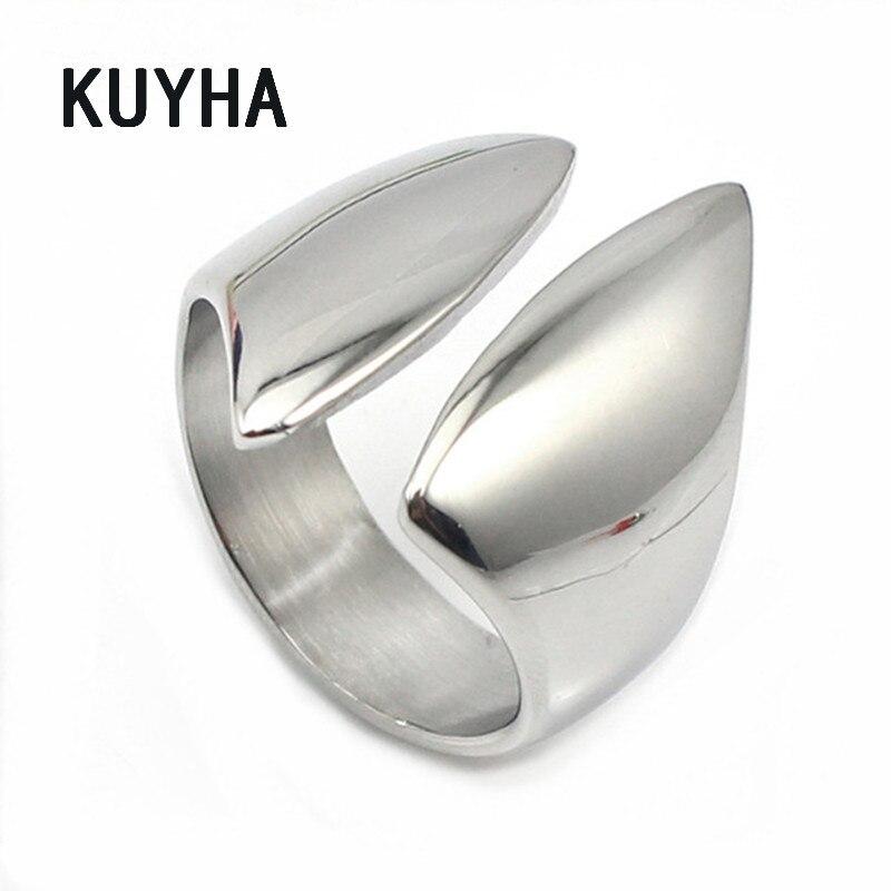 Ирландский Клэдда Для женщин Тарельчатая серебряный открытым манжеты палец Кольца комплект Нержавеющаясталь модные открытие Midi Кольца Дизайн