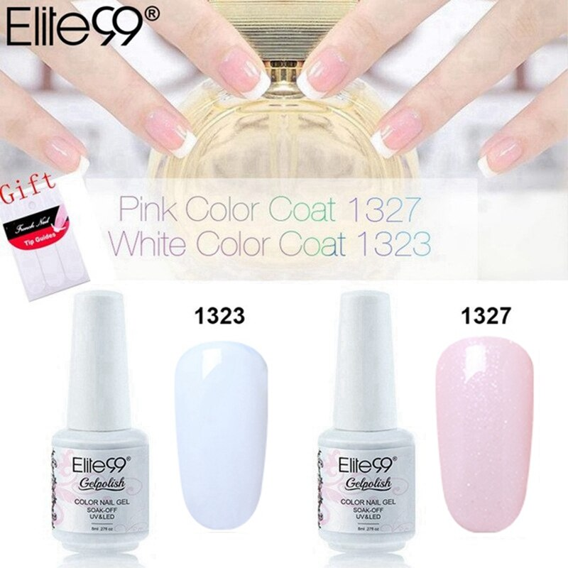 Elite99 8ml New Design Soak Off Color Nail Gel Polish White + Pink French Manicure Kit Set Free DIY Tips Nail Art Decorations